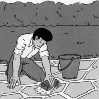 lavage apres pose allée pierre